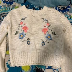 White Sweater w/ Embroidered Flowers